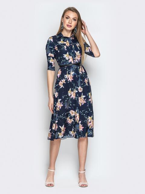 Синее платье-рубашка с цветочным принтом - 20380, фото 1 – интернет-магазин Dressa