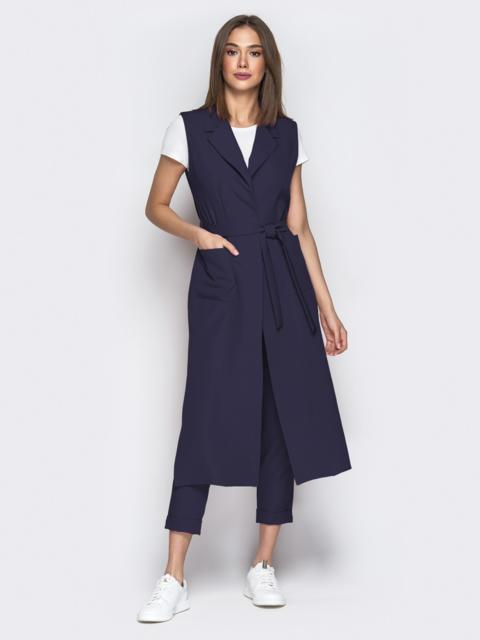 Темно-синий комплект из удлиненного жилета и штанов 49770, фото 1