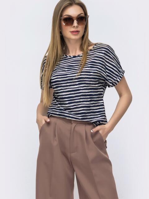 Темно-синяя блузка свободного кроя в полоску - 46898, фото 1 – интернет-магазин Dressa