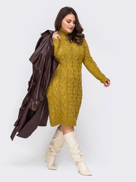 Вязаное платье большого размера с косами желтое 51573, фото 1