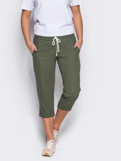 Зеленые бриджи с поясом на резинке и карманами - 12744, фото 1 – интернет-магазин Dressa