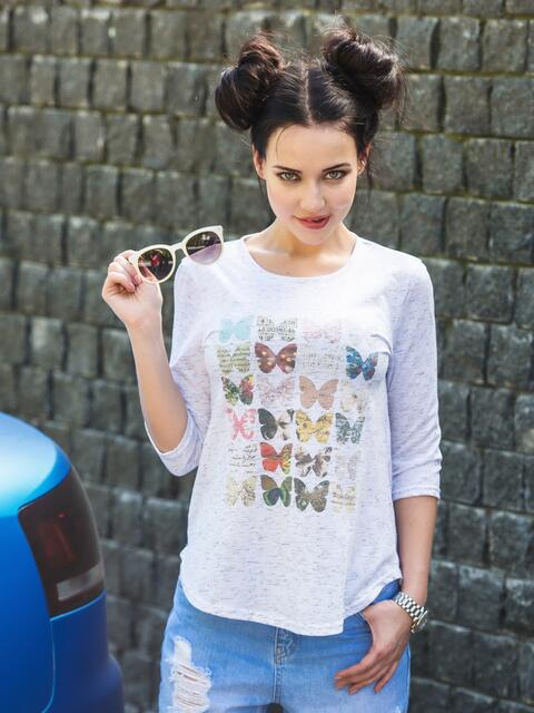 Белая футболка с рукавами 3/4 и принтом - 22126, фото 1 – интернет-магазин Dressa