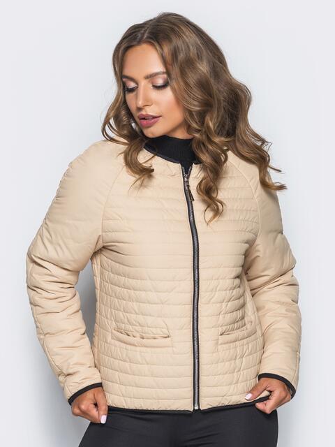 Бежевая стеганая куртка с прорезными карманами - 14692, фото 1 – интернет-магазин Dressa