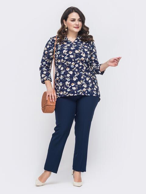 Брючный комплект батал с блузкой тёмно-синий - 46318, фото 1 – интернет-магазин Dressa