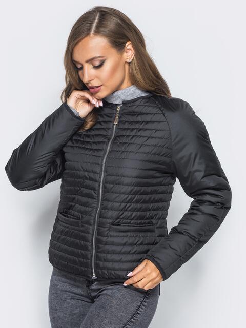 Черная стеганая куртка с прорезными карманами - 14688, фото 1 – интернет-магазин Dressa