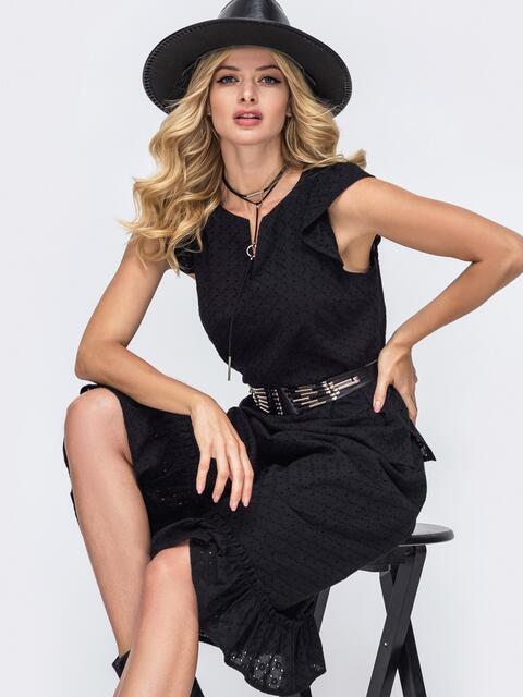 Чёрный костюм из прошвы с блузкой и юбкой-трапецией 50044, фото 1