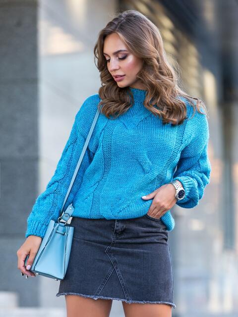 Голубой свитер с ажурной вязкой и резинкой по низу - 41055, фото 1 – интернет-магазин Dressa