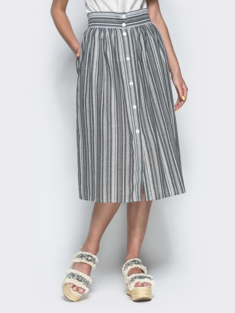 Льняная юбка в полоску с завышенной талией серая - 38300, фото 1 – интернет-магазин Dressa