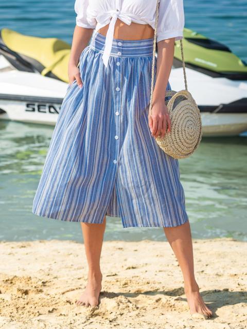 Льняная юбка в полоску с завышенной талией синяя - 38299, фото 1 – интернет-магазин Dressa