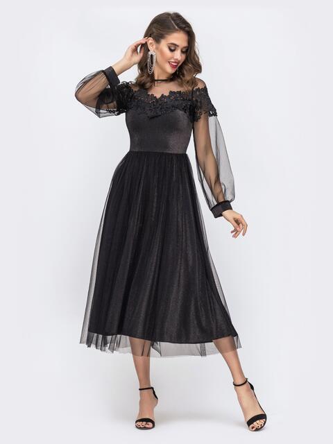 Платье из люрекса с расклешенной юбкой и фатином чёрное 42836, фото 1