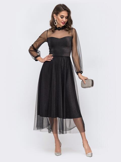 Расклешенное платье с блестящим напылением и фатином чёрное 42838, фото 1