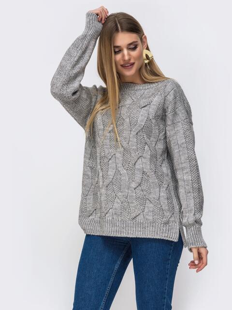 Серый свитер с удлиненной спинкой - 43135, фото 1 – интернет-магазин Dressa