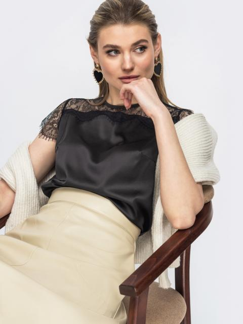 Шелковая блузка с гипюровой кокеткой чёрная - 45710, фото 1 – интернет-магазин Dressa