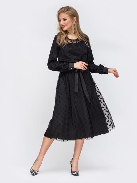 Шелковое платье с фатином в горох и резинкой по талии чёрное - 42835, фото 1 – интернет-магазин Dressa