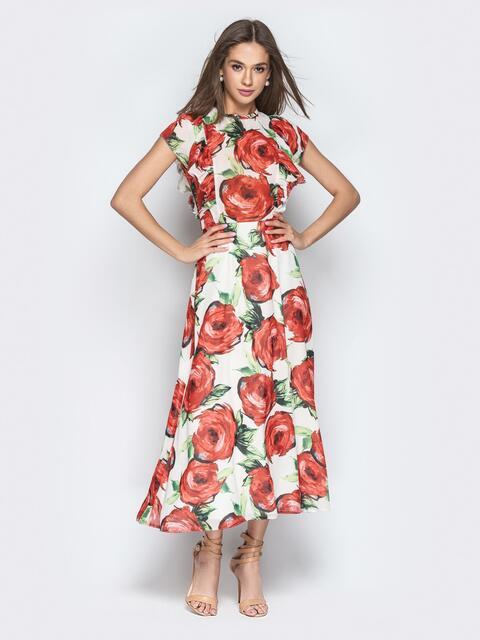 Шифоновое платье-макси с цветочным принтом и воланами - 21273, фото 1 – интернет-магазин Dressa