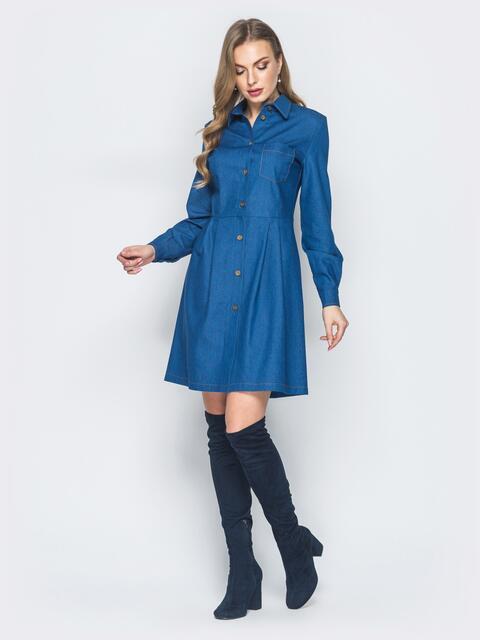 Джинсовое платье синего цвета с расклешенной юбкой - 18762, фото 1 – интернет-магазин Dressa