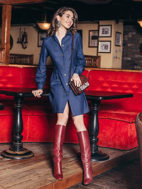 Джинсовое платье тёмно-синего цвета с расклешенной юбкой - 18761, фото 1 – интернет-магазин Dressa