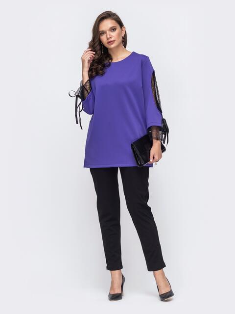 Комплект батал с фиолетовой кофтой со вставками сетки и брюками 51437, фото 1