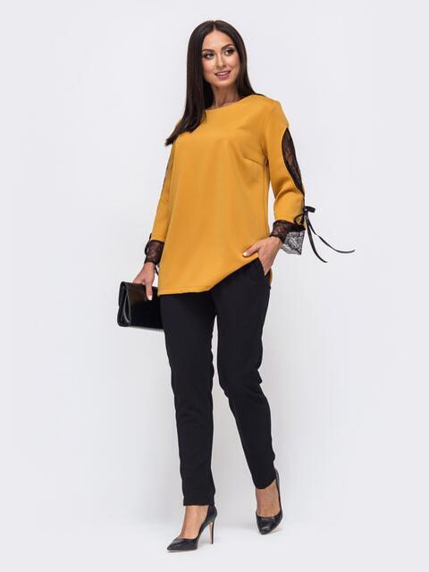 Комплект батал с желтой кофтой со вставками сетки и брюками 51438, фото 1