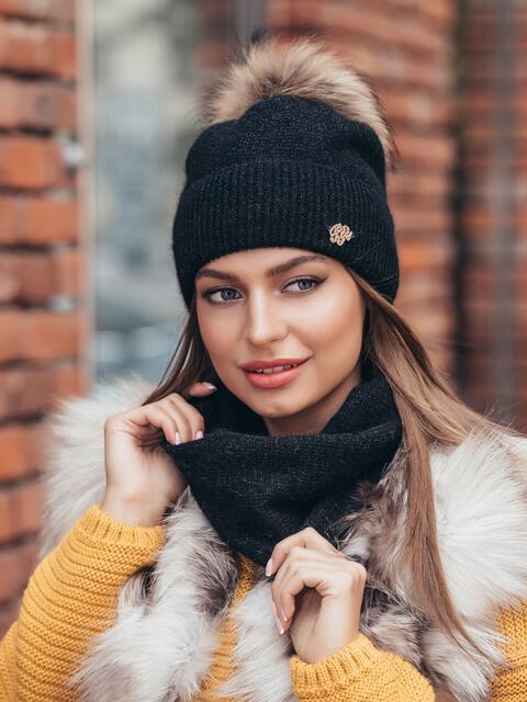 Комплект из шапки на флисе и снуда чёрный - 40255, фото 1 – интернет-магазин Dressa