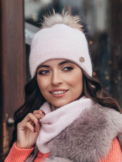 Комплект из шапки на флисе и снуда пудровый - 40349, фото 1 – интернет-магазин Dressa