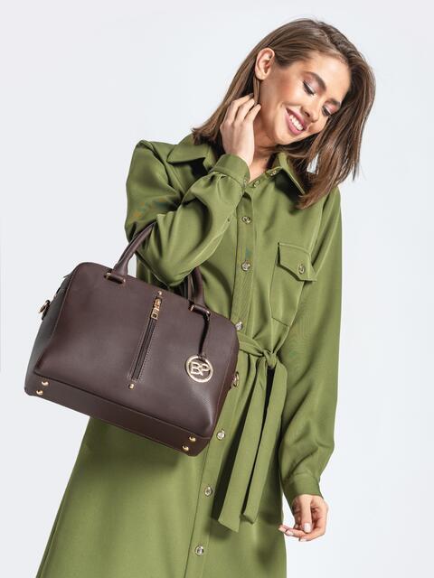 Коричневая сумка-тоут на два отдела с ремешком - 20556, фото 1 – интернет-магазин Dressa