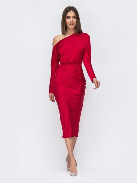 """Красное платье из шелка """"Армани"""" на одно плечо - 43012, фото 1 – интернет-магазин Dressa"""