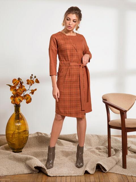 """Платье с рукавом """"летучая мышь"""" оранжевое - 44232, фото 1 – интернет-магазин Dressa"""
