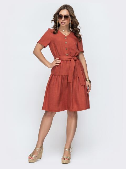 Расклешенное терракотовое платье на пуговицах 47008, фото 1