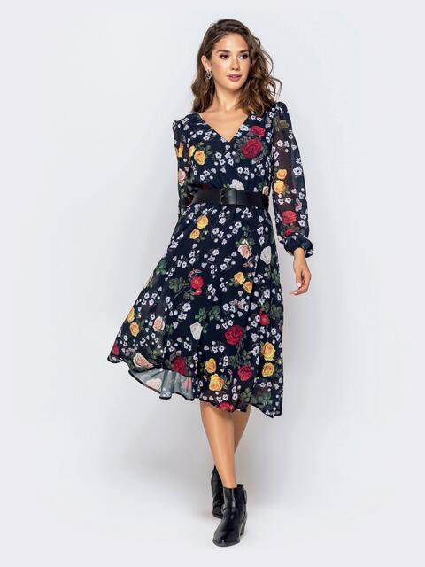 Шифоновое платье с цветочным принтом чёрное - 40922, фото 1 – интернет-магазин Dressa