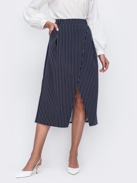 Темно-синяя юбка на фиксированный запах 49596, фото 1