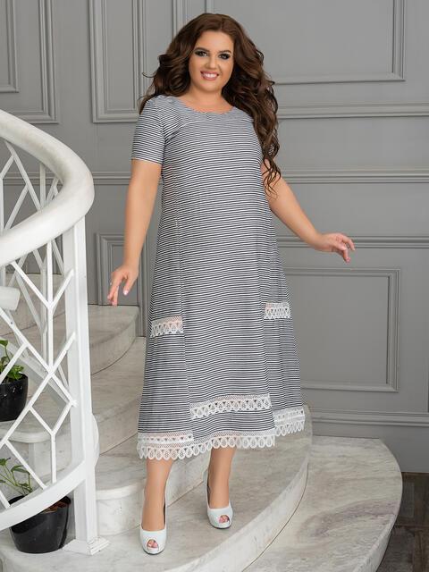 Бежевое платье батал в узкую полосу - 49195, фото 1 – интернет-магазин Dressa