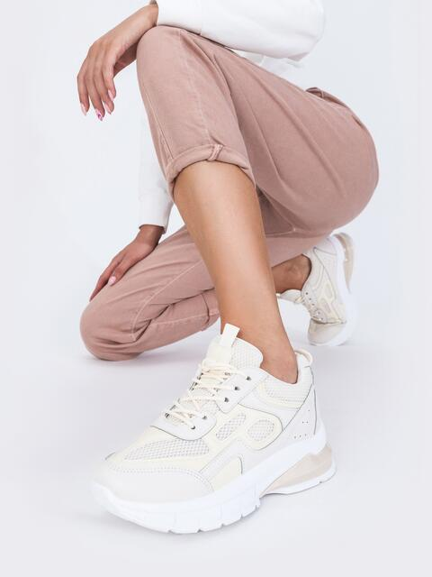 Бежевые кроссовки из искусственной кожи - 45980, фото 1 – интернет-магазин Dressa