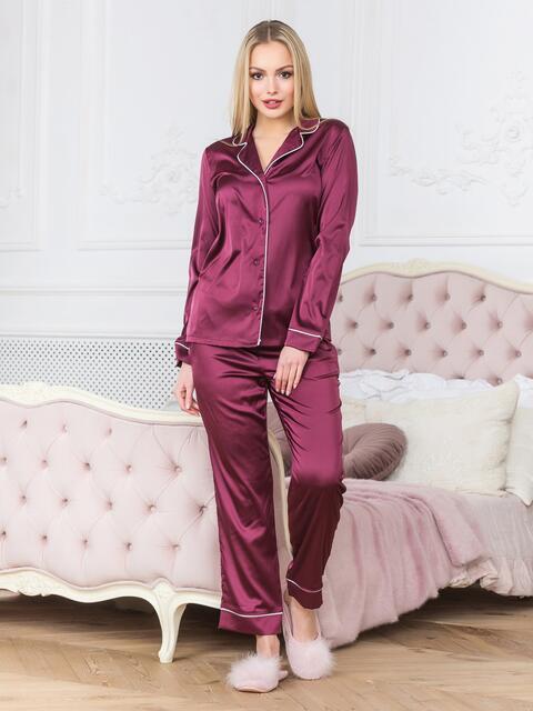 Бордовая пижама с окантовкой на рубашке и брюках - 18937, фото 1 – интернет-магазин Dressa