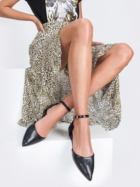 Босоножки из искусственной кожи чёрные - 45973, фото 1 – интернет-магазин Dressa