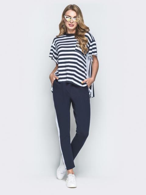 Брючный комплект с футболкой в полоску тёмно-синий - 38525, фото 1 – интернет-магазин Dressa