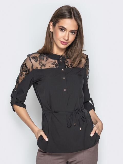 Чёрная блузка с фатиновой кокеткой и пуговицами - 21137, фото 1 – интернет-магазин Dressa