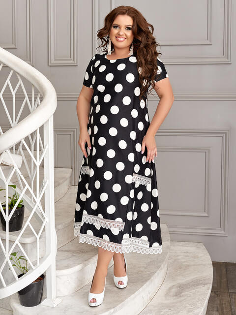 Черное платье батал в белый горох - 49193, фото 1 – интернет-магазин Dressa