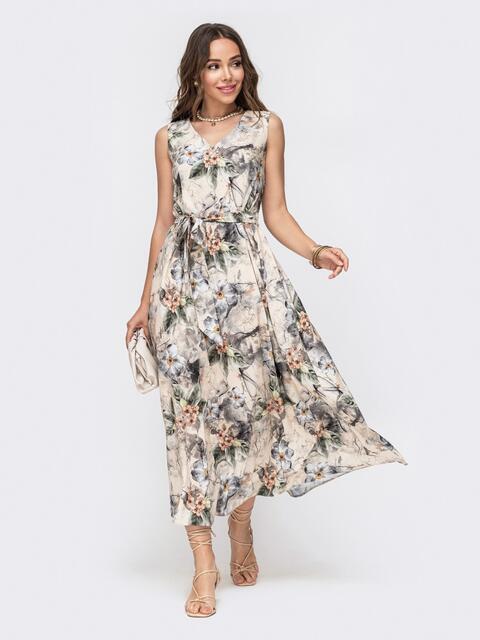 Длинное платье с принтом и расклешенной юбкой бежевое - 49343, фото 1 – интернет-магазин Dressa