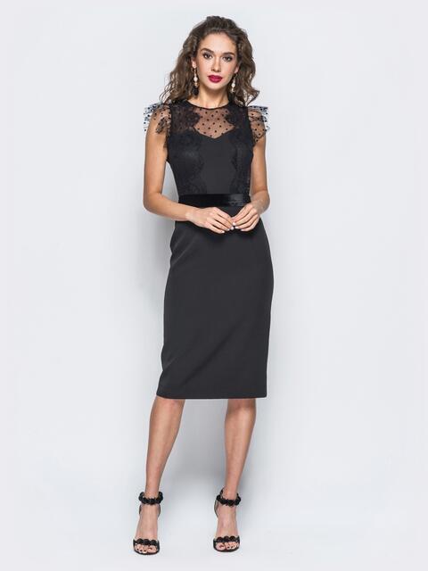 Платье-футляр черного цвета с бархатным поясом - 17897, фото 1 – интернет-магазин Dressa