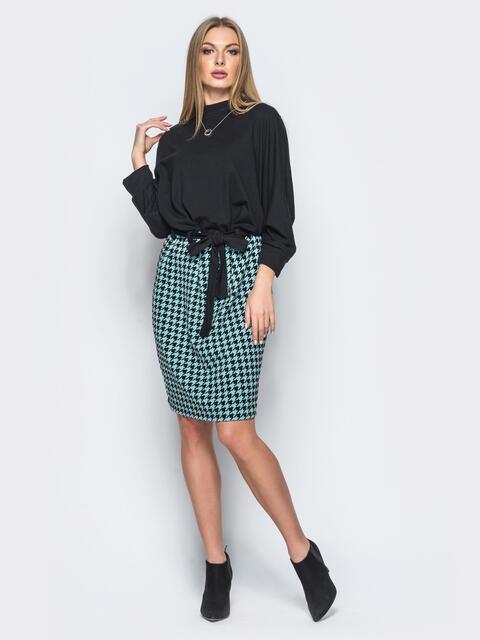 """Платье со свободным верхом и юбкой в зелёную """"гусиную лапку"""" - 17461, фото 1 – интернет-магазин Dressa"""