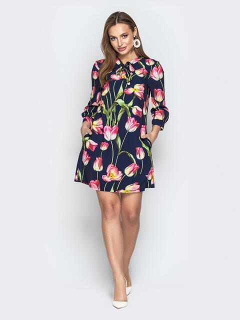 Принтованное платье-трапеция с воротником-аскот синее - 21140, фото 1 – интернет-магазин Dressa