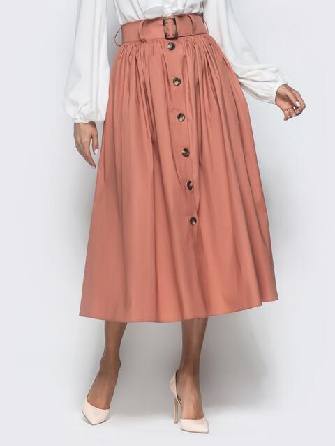 Расклешенная юбка-миди с завышенной талией розовая - 40127, фото 1 – интернет-магазин Dressa