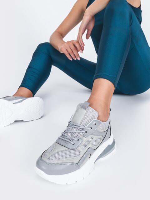 Серые кроссовки из искусственной кожи 45981, фото 1