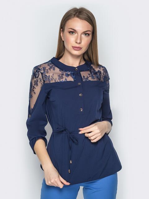 Синяя блузка с фатиновой кокеткой и пуговицами - 21135, фото 1 – интернет-магазин Dressa