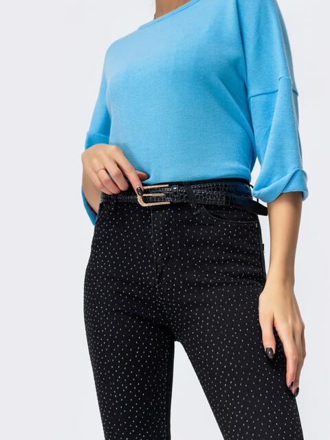Зауженные джинсы со стразами чёрного цвета 44061, фото 4