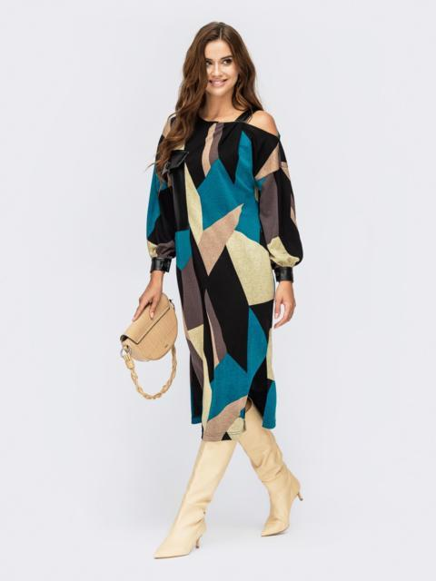 Трикотажное платье на одно плече с принтом черное 55203, фото 1