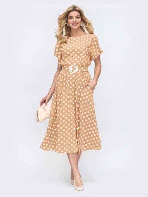 Бежевое платье в горох с расклешенной юбкой - 48311, фото 1 – интернет-магазин Dressa