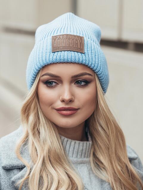 "Голубая шапка с нашивкой ""advisory"" - 15385, фото 2 – интернет-магазин Dressa"