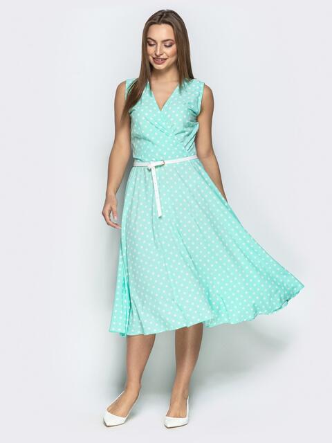 Мятное платье в горох с запахом и юбкой-полусолнце - 22186, фото 1 – интернет-магазин Dressa